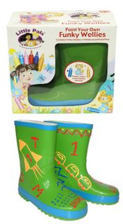 Paint Your Own Funky Wellies - Green Size 26