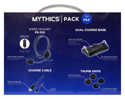 Konix Mythics Pack: Wired Headset, Dual Charger, Cable and Thumb Grips (PS4)