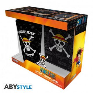 Gift Box: One Pice - Skull Large Glass, Badge and Notebook