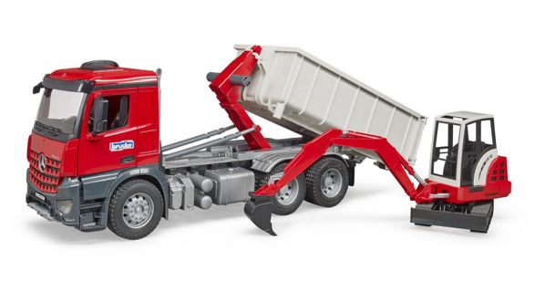Bruder - MB Actros Truck with Roll-off container + Schaeff HR16 Mini Excavator