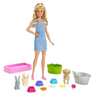 Barbie - Play and Wash Pets Doll and Playset
