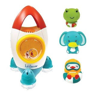 Lexibook - Space rocket bath toy set with 3 squeezable animals