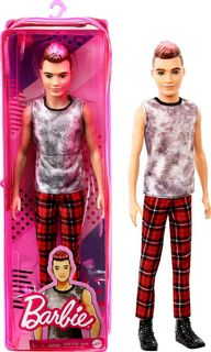 Barbie: Fashionistas - Rocker Ken Doll (Pink Frosted Hair and Sleeveless Top), 30cm
