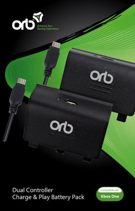 ORB Dual Controller Charge and Play Battery Pack - Black (Xbox One)
