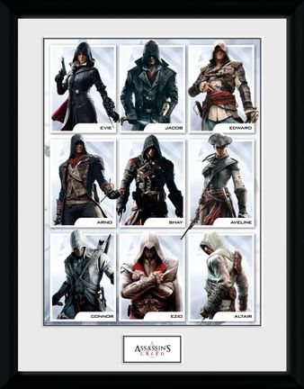 Framed Print: Assassin's Creed - Compilation Characters, 30x40cm