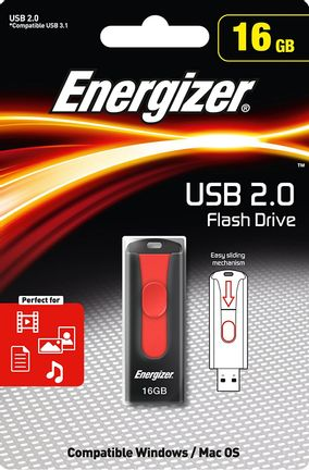 Energizer USB 2.0 Flash Drive Classic Slider - Black/Red, 16 GB