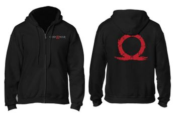 Zip Hoodie: God of War - Serpent Logo, Black Size M