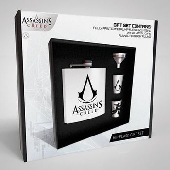 Gift Set: Hip Flask Assassin's Creed - Logo incl. 2 Metal Shots and Funnel