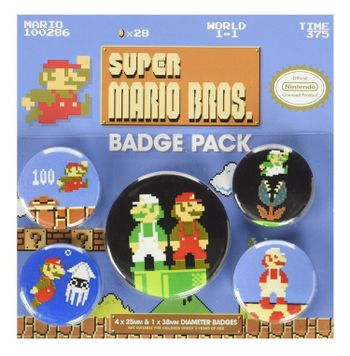 Badges 5-Pack - Super Mario Bros., 1x38mm x 4x25mm