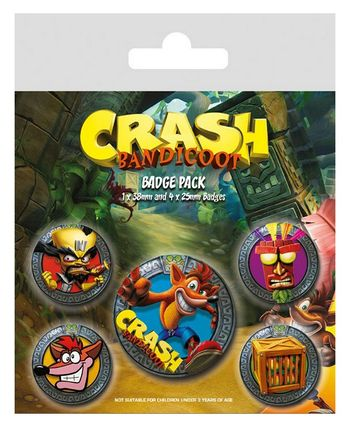 Badges 5-Pack: Crash Bandicoot - Pop Out, 1x38mm x 4x25mm
