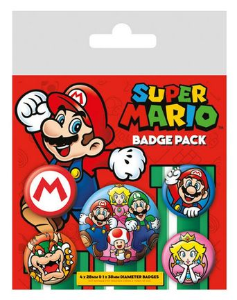 Badges 5-Pack - Super Mario, 1x38mm x 4x25mm