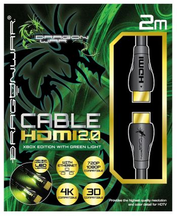 Dragon War HDMI 2.0 - Xbox Edition with Green Light, 2m