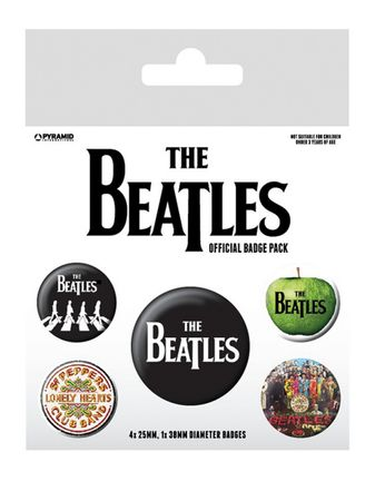 Badges 5-Pack: Beatles - White, 1x38mm x 4x25mm