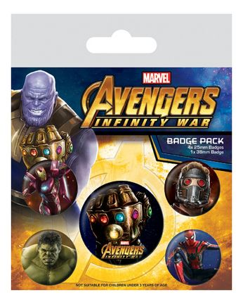 Badges 5-Pack: Avengers: Infinity War, 1x38mm x 4x25mm