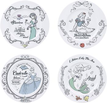 Disney Princess - Princesses Porcelain Plates 4-Pack, 21cm