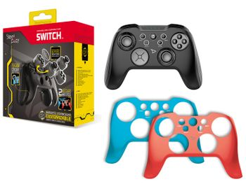 Steel Play Wireless Customizable Controller - Black with Red/Blue Covers (Switch)