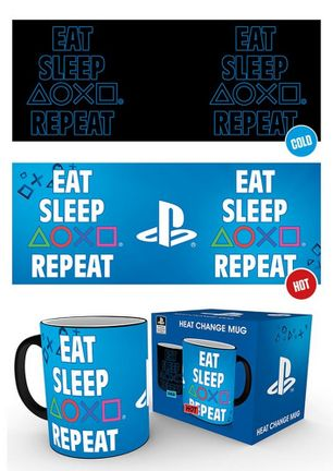 PlayStation - Eat Sleep Repeat Heat Change Mug, 300ml
