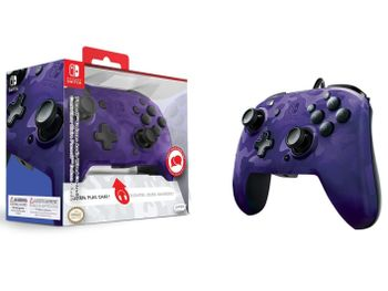 PDP Faceoff Deluxe+ Wired Audio Controller - Camo Purple (Switch)