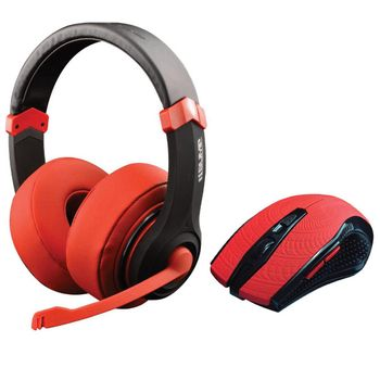 Dragon War Combo Set: Gaming Headset and Mouse Wired - Red (PC)