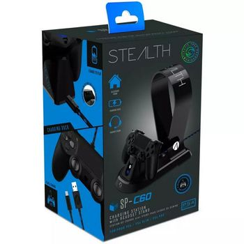 Stealth SP-C60 Controller Charging Station with Headset Stand - Black (PS4)