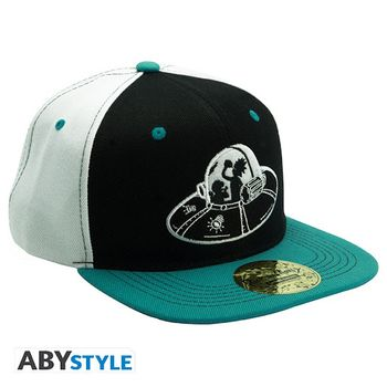 Snapback Cap: Rick and Morty - Spaceship, White/Black/Green