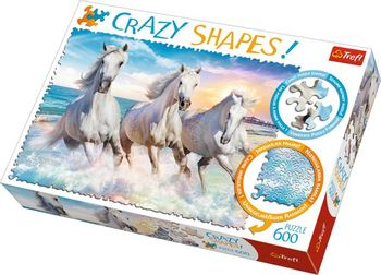 TREFL Puzzle: Crazy Shapes - Gallop in the Waves Horses, 600 Pieces