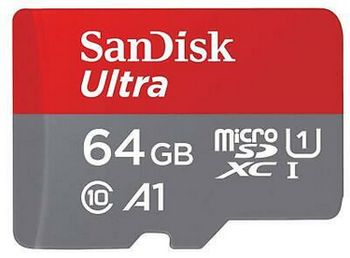 SanDisk Ultra microSDXC UHS-I Card with Adapter, 64 GB