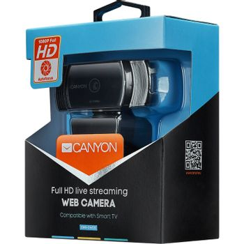 CANYON C5 2.0 MegaPixels Webcam - Full HD, USB2.0, built in MIC, Cable 2.0m, Auto Focus, Black (PC)