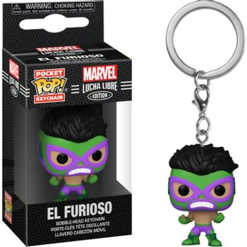 POP! Pocket Keychain: Marvel Lucha Libre Edition - El Furioso Bobble-Head Vinyl