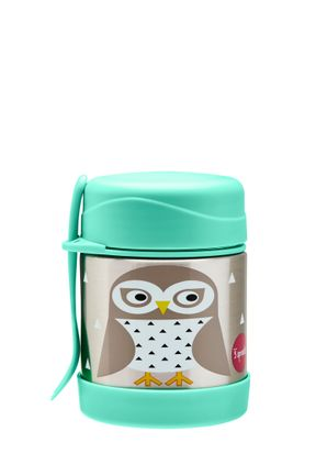 3 Sprouts - Stainless Steel Food Jar and Spork - Mint Owl