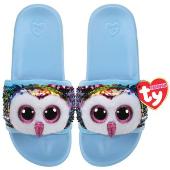 Ty Plush - Sequin Slides - Owen the Owl (Size: 36-38)