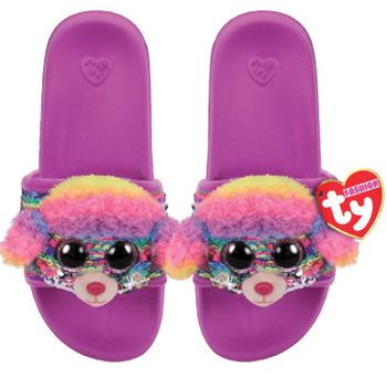 Ty Plush - Sequin Slides - Rainbow the Poodle (Size: 32-34)