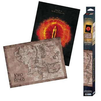 Posters 2-Pack: Lord of the Rings - Middle-Earth Map & Eye of Sauron, 52x38cm